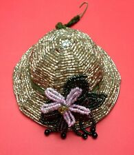 Beaded Hat Christmas Ornament Katherine's Collection Pink Flower Metal Frame
