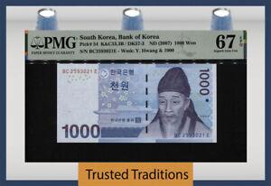 TT PK 54 ND (2007) SOUTH KOREA BANK OF KOREA 1000 WON PMG 67 EPQ SUPERB GEM UNC.