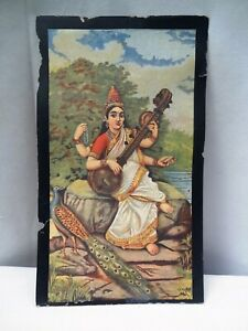 "Vintage Cigarette Card Crown Tobacco Co Bombay Sarasvati Ravi Varma Lithograph""5"