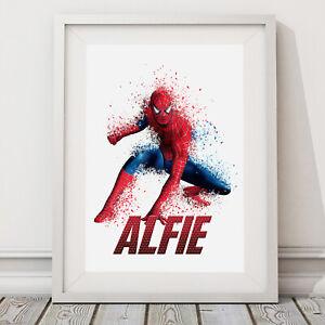 Spiderman Poster - Personalised Bedroom Wall Art Print Marvel