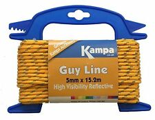 Kampa Guy Line Reel 5mm x 15.2 metres - High Visibility Reflective/ Tent/ Awning