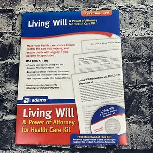 Adams Living Will & Health Care Power Of Attorney Forms Kit with CD NEW