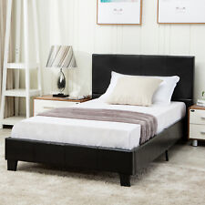 Twin Size Metal Bed Frame Platform Faux Leather Upholstered Headboard Furniture