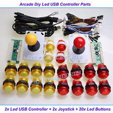 Arcade DIY KIT Parts USB Encoder To PC 2x Joystick + 20 LED Illuminated buttons