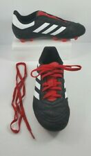 Boys SZ 2 Adidas Cleats Black Red Soccer Baseball Youth Athletic Shoes