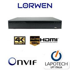 LORWEN NVR 16 CH CANALI ONVIF NVR265R16C H265 H264 HDMI VGA 4K PROFESSIONALE P2P