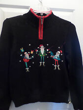 Ugly Tacky cute? Christmas sweater silly Santas Christopher & Banks black red S