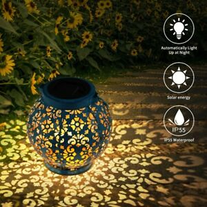 LED Solar Projection Lamp Lantern Hanging Outdoor Garden Lights Metal Waterproof