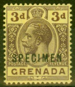 Grenada 1913 3d Purple-Yellow Specimen SG96s Fine & Fresh Mtd Mint