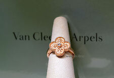 Van Cleef Arpels NEW Alhambra Diamond Ring 18k Rose Gold 5.5 Box/Papers ARN9ZT51