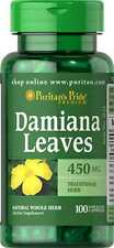 Damiana Leaves 450 mg  x 100 Capsules  Puritan Pride ** AMAZING PRICE **