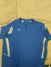 Under Armour Short Sleeve Cage Jacket Coaching Pullover Royal Blue 1/4 Zip sz L