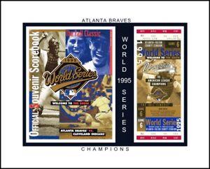 ATLANTA BRAVES 1995 WORLD SERIES CHAMP MATTED COLLAGE OF GAME TIX @WS PROGRAM #2