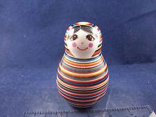 NIB Porcelain Striped Russian Matryoshka Nest Doll Salt & Pepper Shakers NN1613