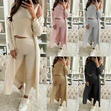 Women's 3 Piece Knitted Co ord Set Top Bottom Cardigan Ladies Winter Loungewear