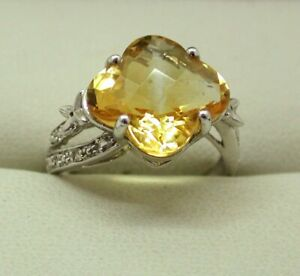 Lovely 9 carat White Gold Large Citrine And Diamond Dress Ring Size N