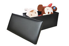 Large Black Leather Ottoman Storage Box Pouffe Footstool Toy