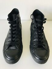 CONVERSE Men's High Tops Black Leather Size 8.5 Excellent Condition