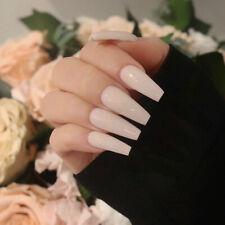 24Pcs Acrylic Nails Long Full False Nails French Nude Manicure Set Art DIY Chic