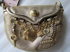 Juicy Couture 2007 Wristlet Bag Gold Leather Multiple Charms