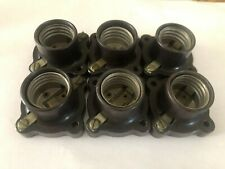 Lot-6 Leviton Electric Base Sockets vintage Bakelite Pony Cleat 660w-250v