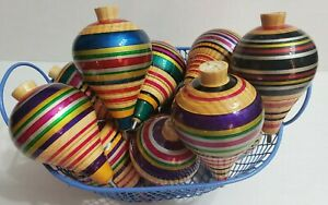 TROMPO SPINNING TOP MULTI-COLOR **NEW ITEM**  CLASSIC WOODEN TOY -  LARGE