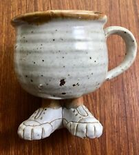 Vintage Stoneware Footed Mug Tennis Shoes Feet Sneakers Funny Handmade Pottery