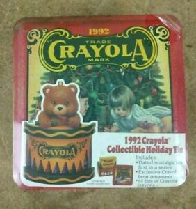Vintage 1992 Crayola Collector's Christmas Tin w/ Ornament and 64 Crayons