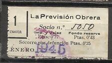 1792-SELLO ESPAÑA CUOTA LA PREVISION OBRERA EN CATALAN Y CASTELLANO,1945