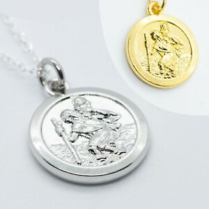 """16"""" - 24"""" Gold or Silver Plated st Christopher Pendant Men Chain Women Necklace"""