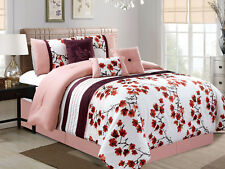 7-P Cherry Blossom Bird Embroidery Pleated Comforter Set Pink White Purple Queen