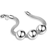 Retro Charm Women 925 Silver Plated Mesh Net Beads Bangle Chain Bracelet Jewelry