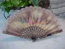 Vintage Signed Victorian Handpainted Celluloid Lace & Fabric Folding Hand Fan
