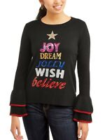 NWT Women's Holiday Time Ugly Christmas Sweater Sequin Tree Bell Sleeve Black