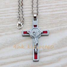 1pcs INRI Crucifix Red Enamel Saint Benedict Medal Cross Pendant Necklaces