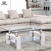Modern Glass Coffee Table with Shelf White Leg Living Room Furniture Rectangular