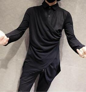 Gothic Mens Black Hip-hop Casual Long Sleeve Blouse Slim Fit Shirts Punk Tops UK