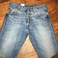 Levi's 501 Jeans Premium 93' Straight Leg Blutton Fky Blue Mens Size 32x32