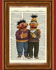 Bert & Ernie Sesame Street Dictionary Art Print Picture Nursery Jim Henson