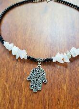 Hamsa Choker 🕉 Onyx & Rose Quartz Gemstone Beads Healing Fertility Protection