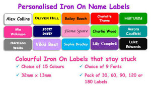30-180 Waterproof Personalised Mini Coloured Iron on Name Labels Clothing Tag R4