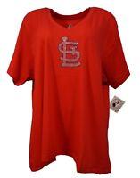 St. Louis Cardinals MLB Majestic Women's Rhinestone Logo V Neck T-Shirt, nwt