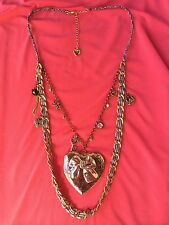 Betsey Johnson Vintage HUGE Rose Gold Copper Locket Bow Heart Checkered Necklace