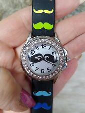 FRENZY WOMENS SILVERTONE MUSTACHE WATCH-EASY READER-BLACK SILICONE BAND-FAUX DIA