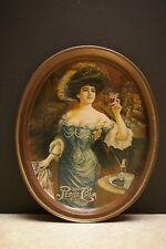 """VINTAGE 1970'S PEPSI ADVERTISING 14"""" OVAL TIN SERVING TRAY FABCRAFT INC"""