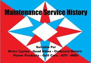 Motorcycle Service History Book Motor Bike Quad ATV Generic Service Handbook