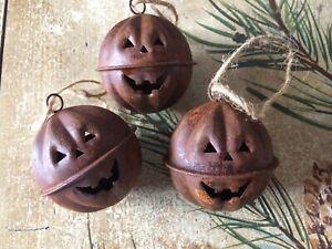"Set/3 Primitive Rusty Jingle Bells Pumpkin Halloween Jack-O-Lantern 1.75"" 44mm"