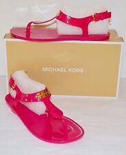 New $49 Michael Kors MK Gold Plate Jelly PVC Raspberry Sandal Thong Gladiator