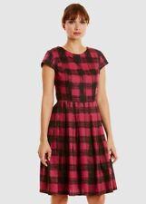 People Tree Nadia Dress 10 Pink Check 100% Organic Cotton