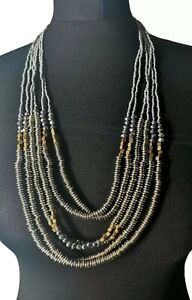 Multi Strand Sparkly Statement Necklace Seed Bead Tribal Ethnic Boho Festival